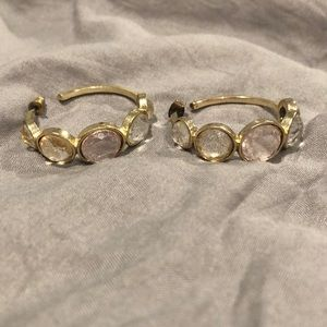 Small gold diamond hoop earrings